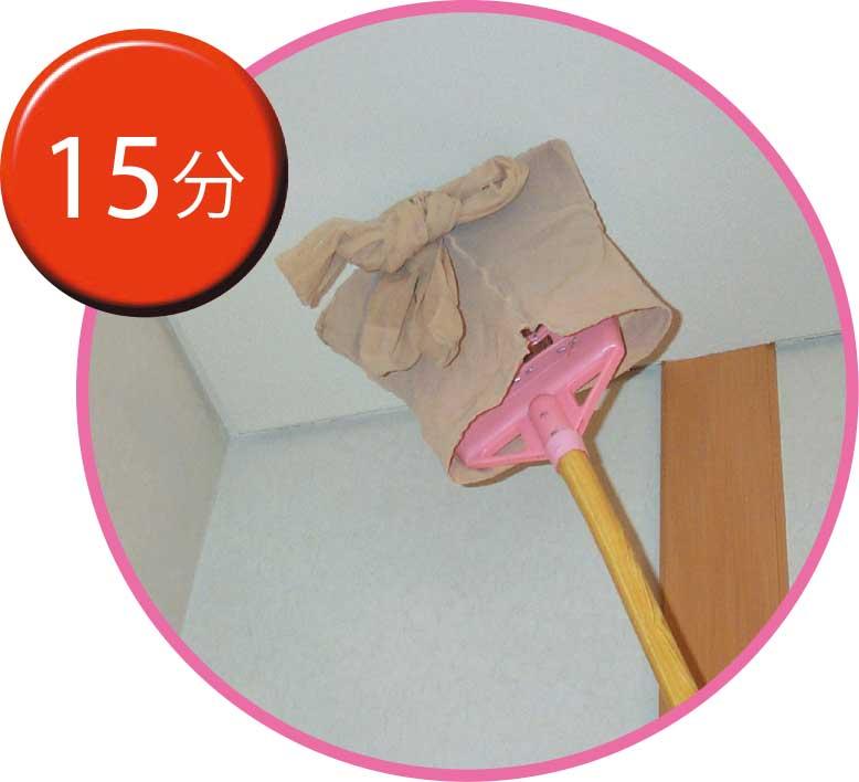 天井をいらなくなったストッキングで掃除している女性