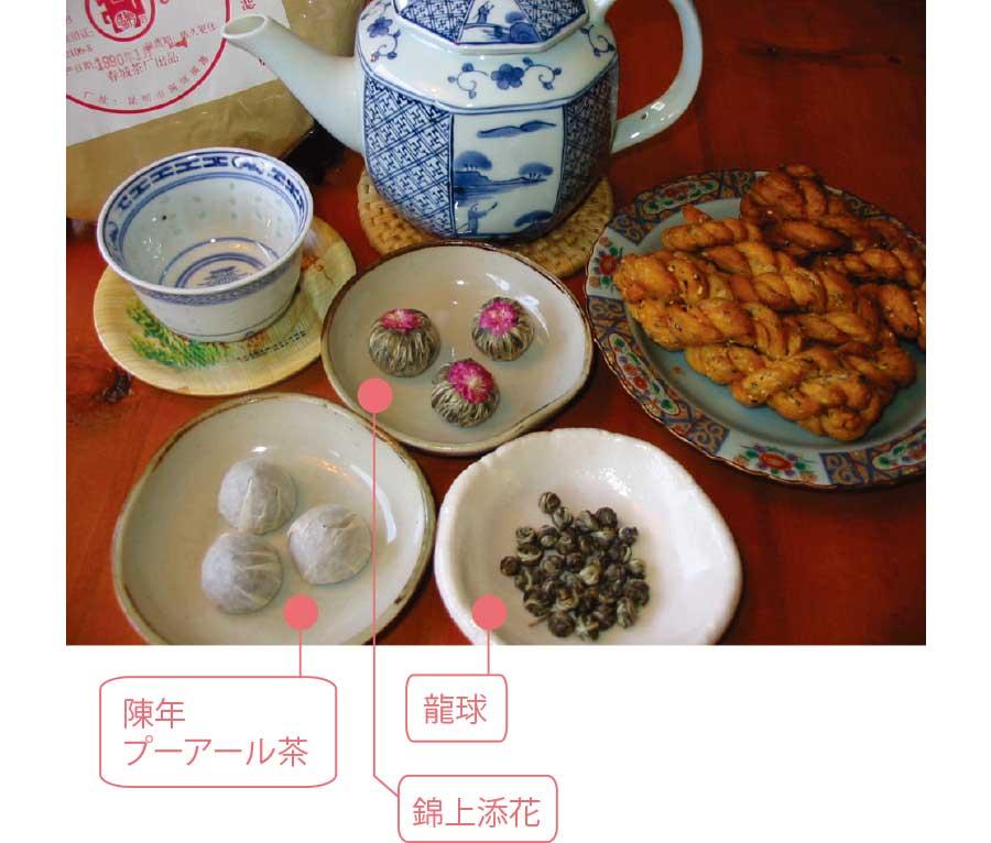 プーアール茶と錦上添花と龍球