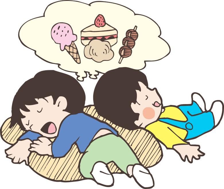 お菓子の夢を見ている男の子のイラスト