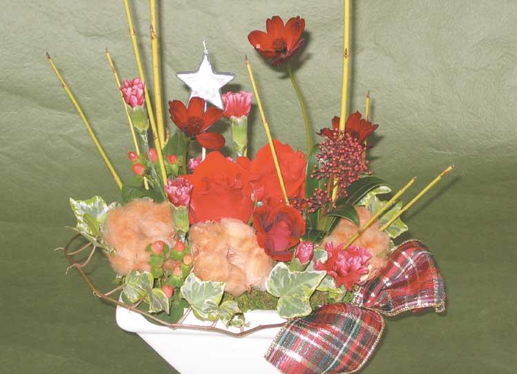 ガーデンショップきこうえんのクリスマス用アレンジメントフラワー