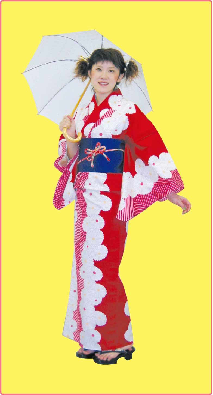 赤地に菊柄の浴衣を着た女性