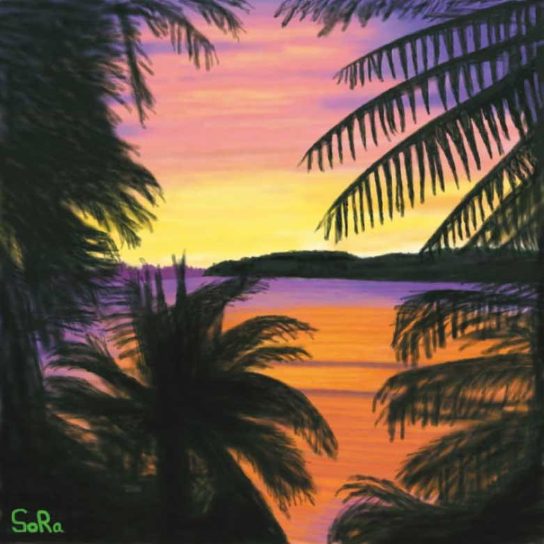 工藤靖也さんが描いた夕方の海
