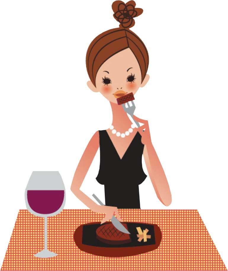 ステーキを食べているお洒落な女性のイラスト