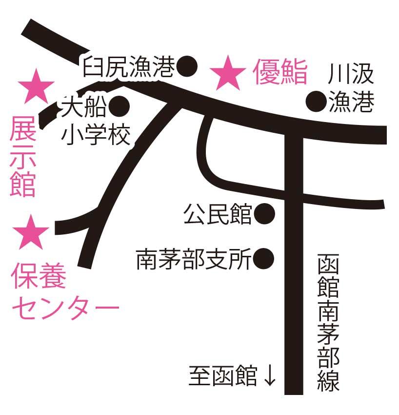 大船遺跡埋蔵文化財展示館と優鮨とひろめ荘周辺地図