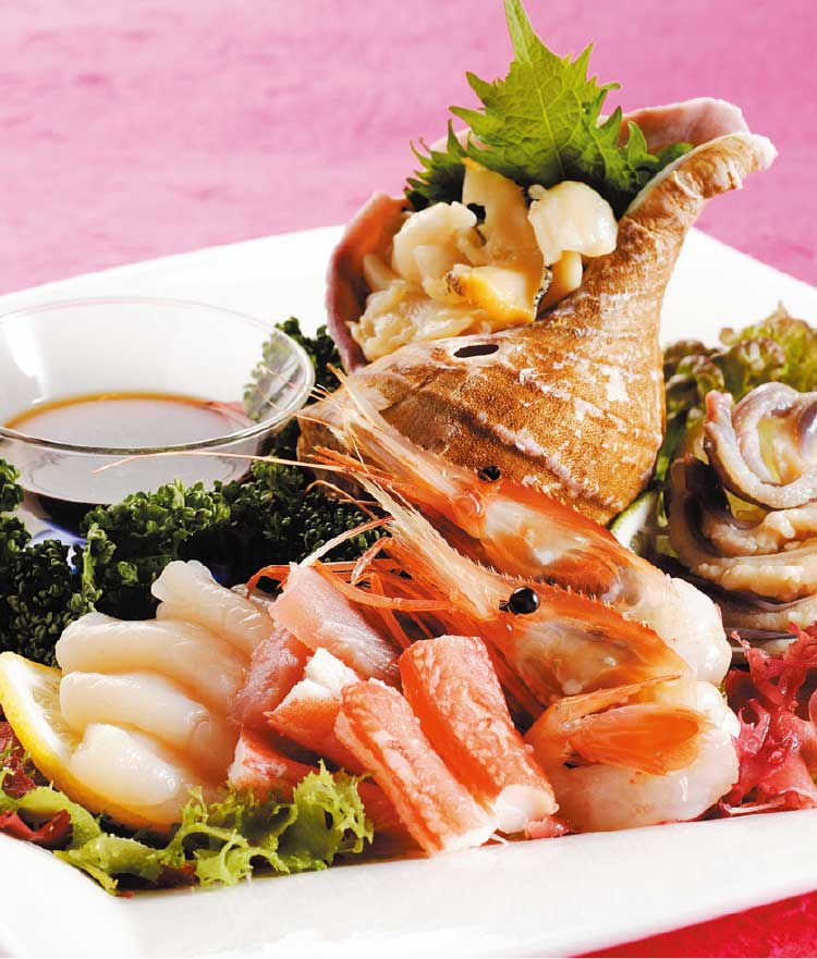 スカイレストランビュメールの新鮮魚介の洋風刺身
