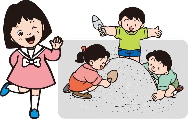 保育園で遊んでいる女の子のイラスト