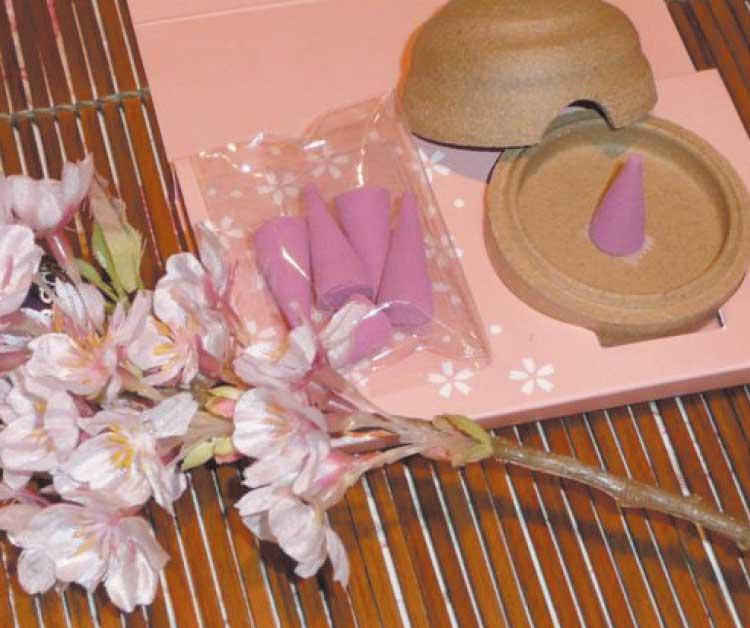 桜のお香と香炉セット