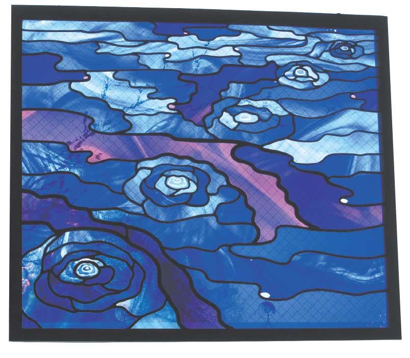 生田ステンドグラスの青いステンドグラス波紋