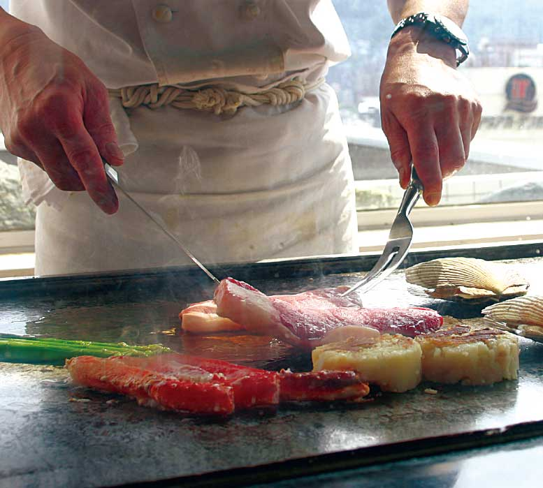 フイットネスホテル330函館の鉄板焼きコーナー