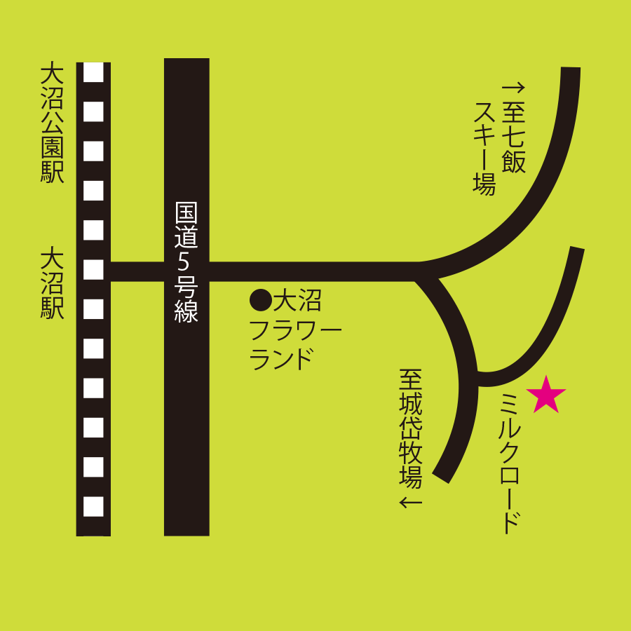 久保田牧場ミルクパーラー周辺地図