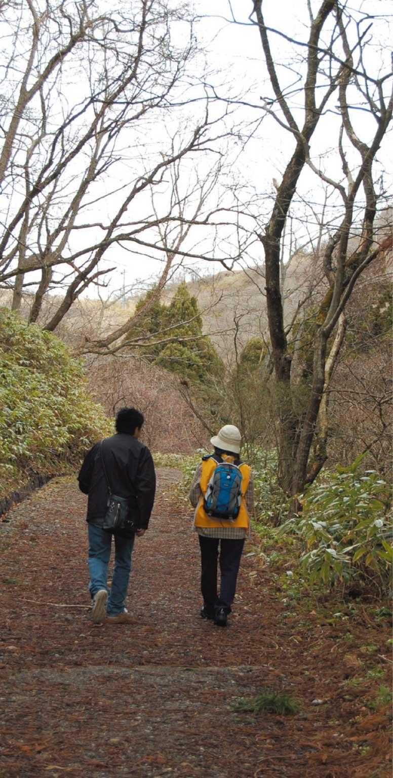 函館山散策道を歩く青山編集長と村本ゆり子さんの後ろ姿