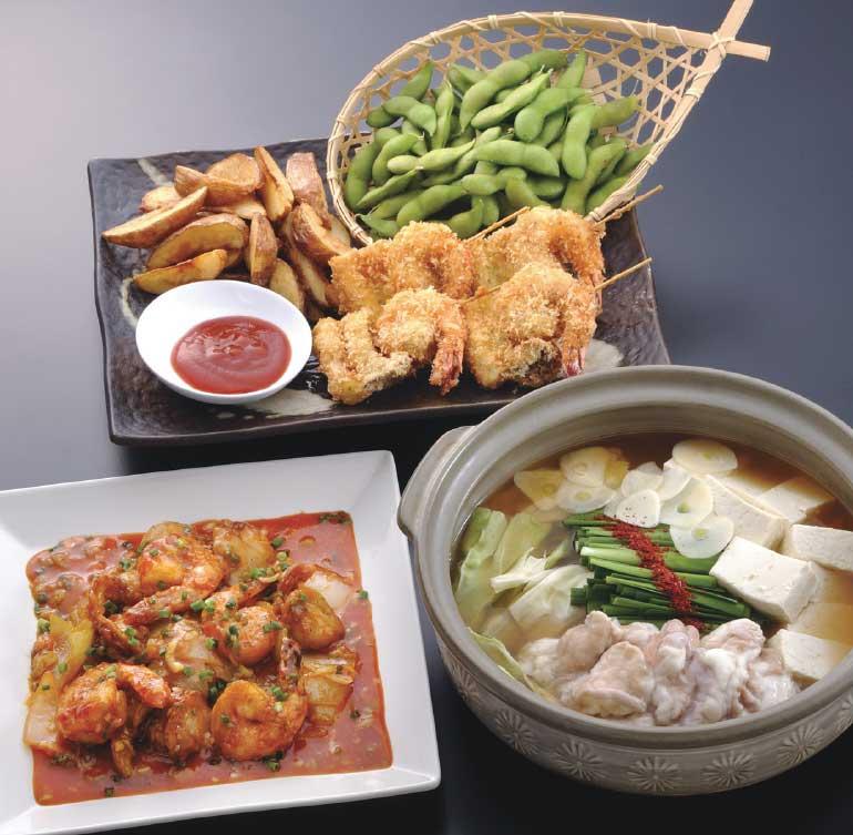 一心亭の食べ飲み放題に追加できる鍋とエビチリと唐揚げ盛り合わせ