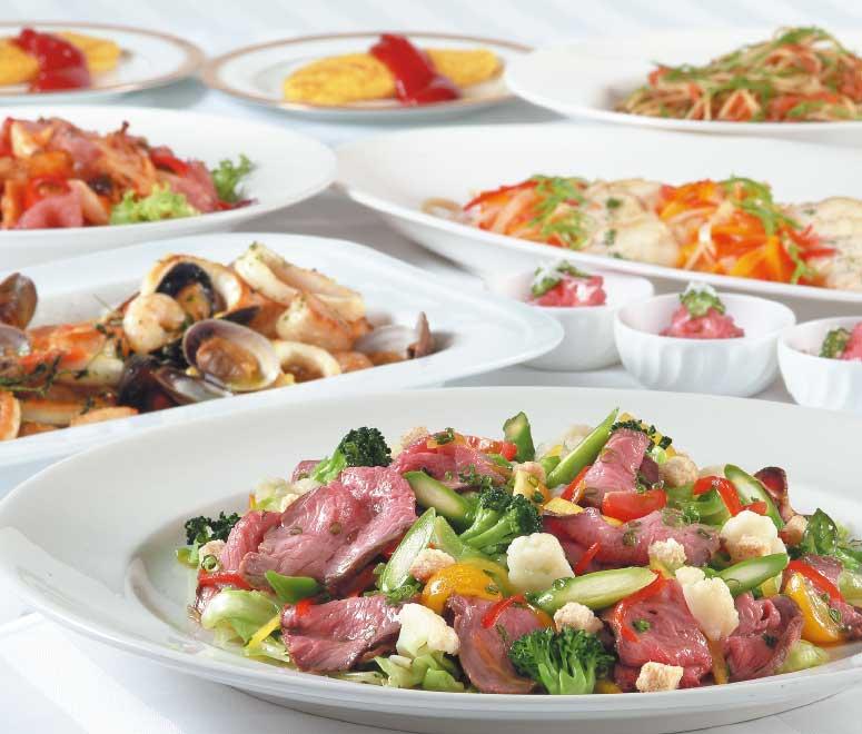 ロワジールホテル内キッチンルームSHIKIのビュッフェ料理