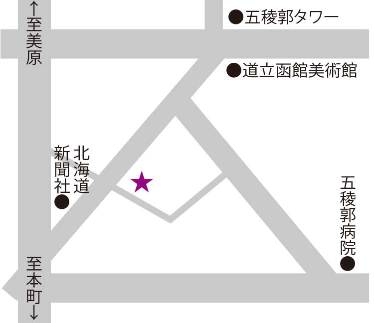 ふでむら五稜郭店周辺地図