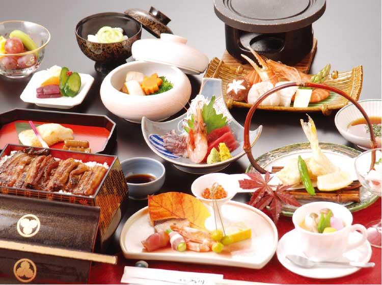 湯元入川の宴会コース6000円海鮮陶板焼き料理