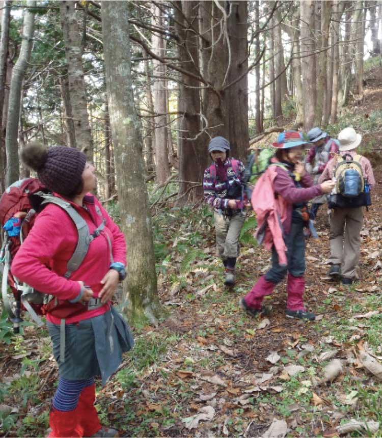 自然倶楽部で山を散策する会員達