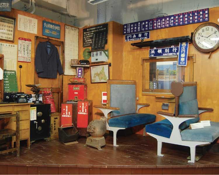 北海道鉄道博物館の昔の駅の展示物