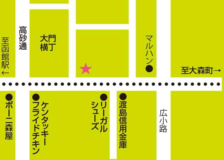 ハッシュパピー函館店周辺地図