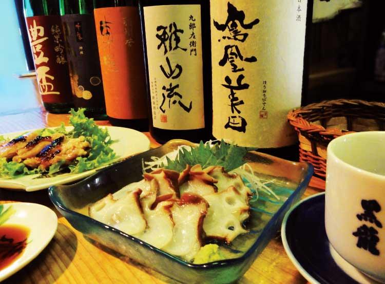 立ち呑み藤吉郎の日本酒とタコの刺身