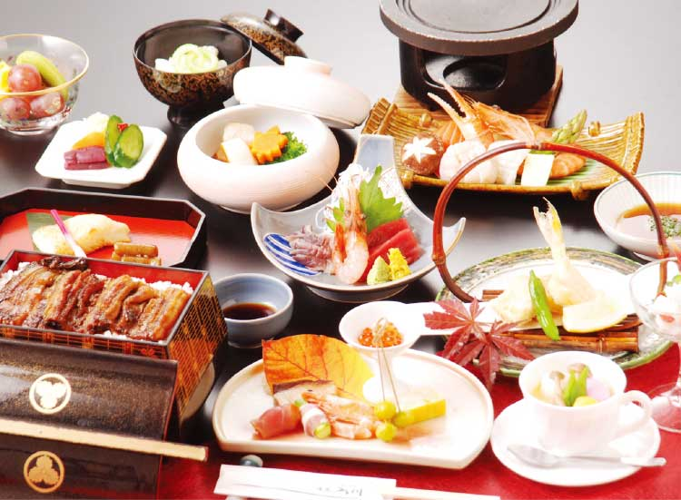 湯元入川6500円海鮮陶板焼きコース料理