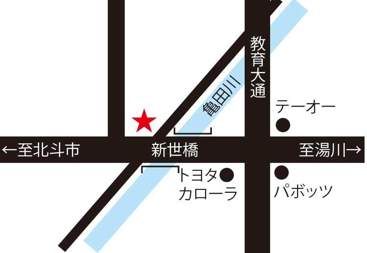 究函館宮前店周辺地図