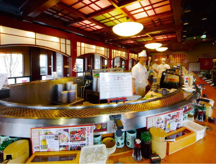 グルメ回転寿司函太郎五稜郭公園店店内