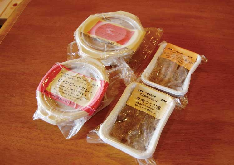山川牧場モータウンファクトリーのビーフビーフカレーと牛肉のつくだ煮