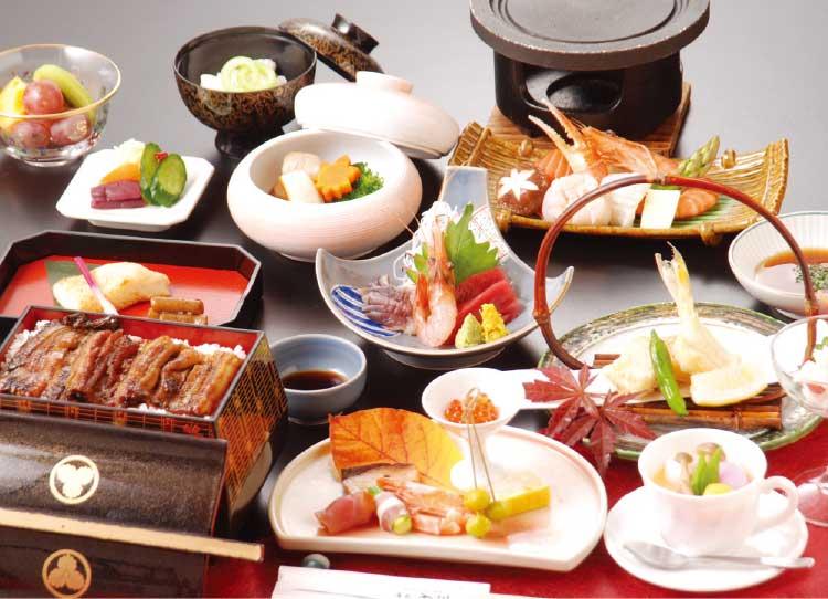 湯元入川の6500円コース海鮮陶板焼き