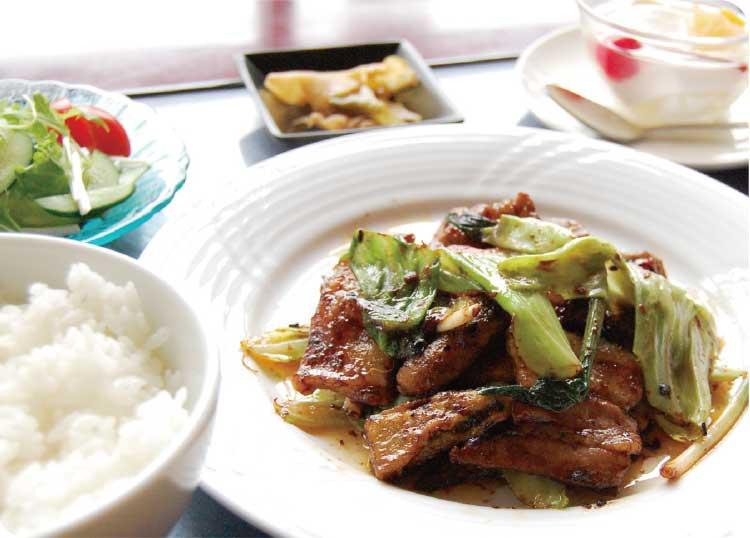 中国料理楼蘭の春野菜の回鍋肉セット