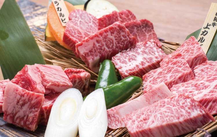 函館炭家の銘柄和牛の三種盛り