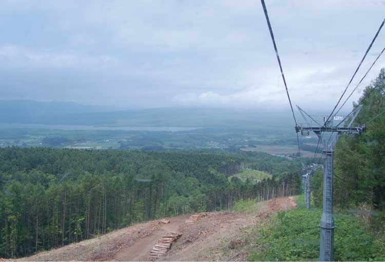七飯スノーパークのゴンドラから見える風景