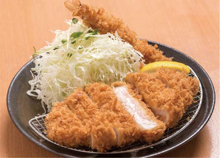 「かつきち」のロースかつ&海老フライ定食