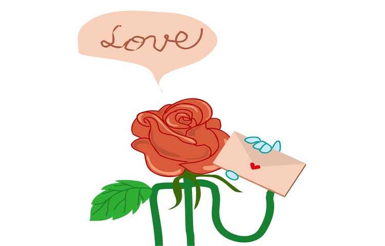 バラの花がラブレターをもつ