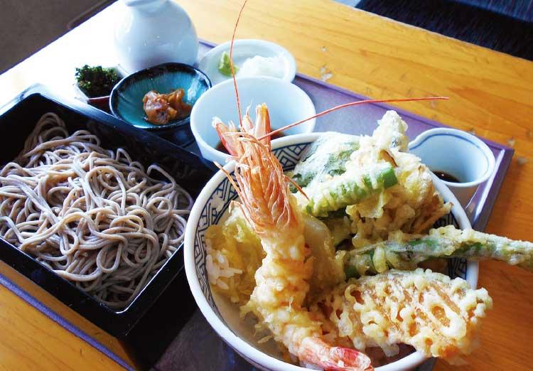 「蕎麦と甘味の御膳水」の天丼・そばセット