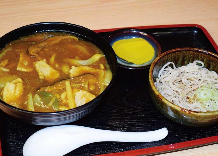 手打ちそば・松よしのカレー丼・味噌汁または温・冷のひと口そば付き