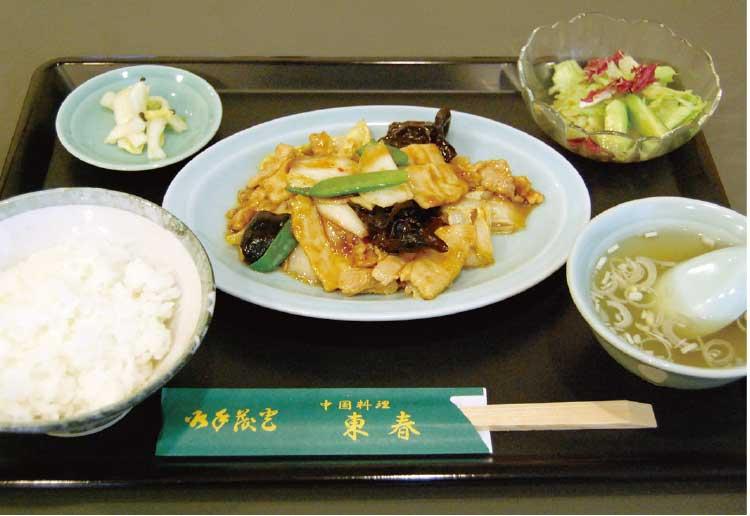 中国料理・東春の豚肉と白菜、竹の子うす切炒め定食
