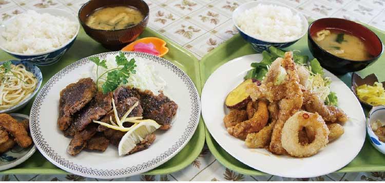 「魚いち亭」の鯨竜田揚げ定食と日替定食
