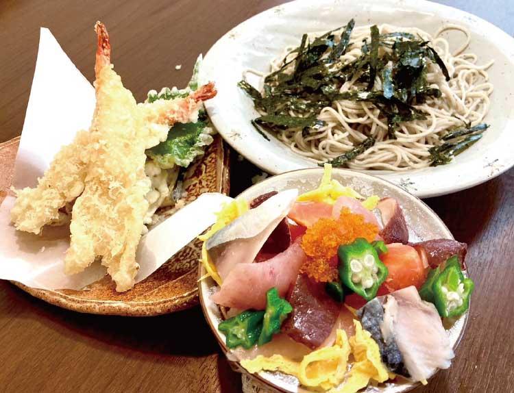 酒・そば処 五稜郭ふでむらの蕎麦と天ぷらと刺盛り