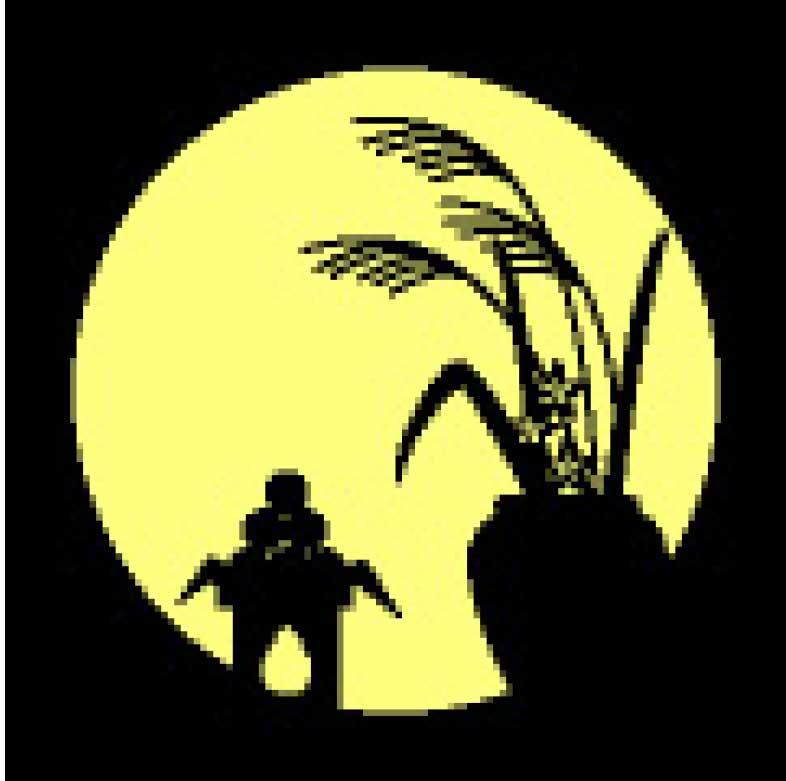 十五夜の満月に照らされるお供え物のシルエット