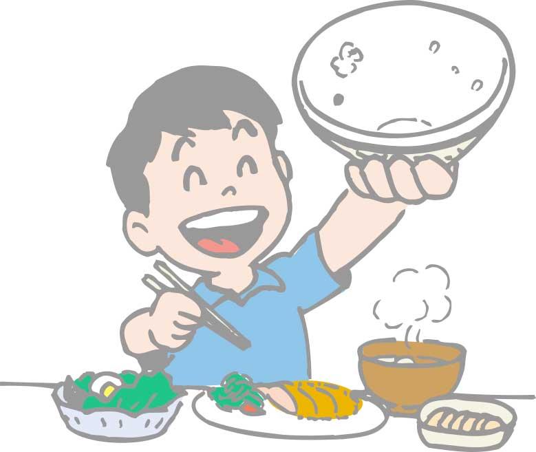 ご飯をおかわりしている男の子のイラスト