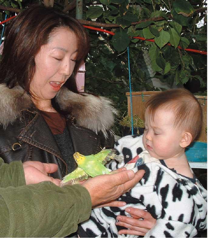 熱帯植物園にいるインコにビックリしている赤ちゃん