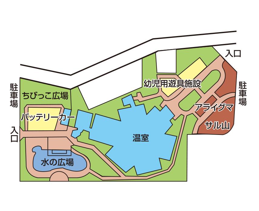 函館市営熱帯植物園の園内マップ