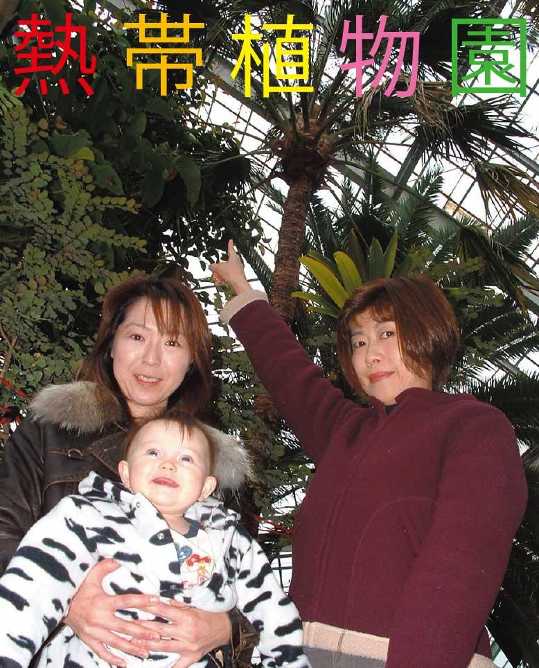 熱帯植物園で記念撮影をしている家族