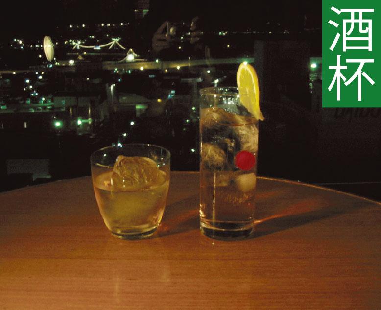 フィットネスホテル330函館から見える夜景とカクテル