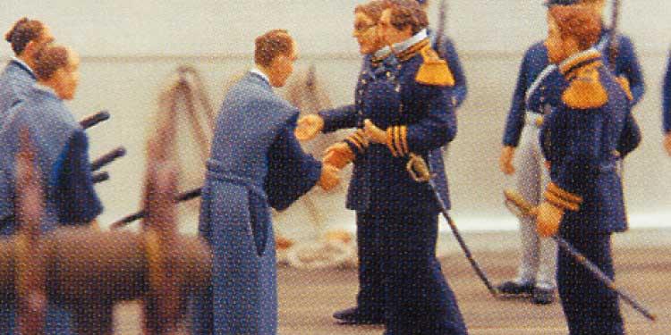 函館にペリーが来航した時の会談のミニチュア模型