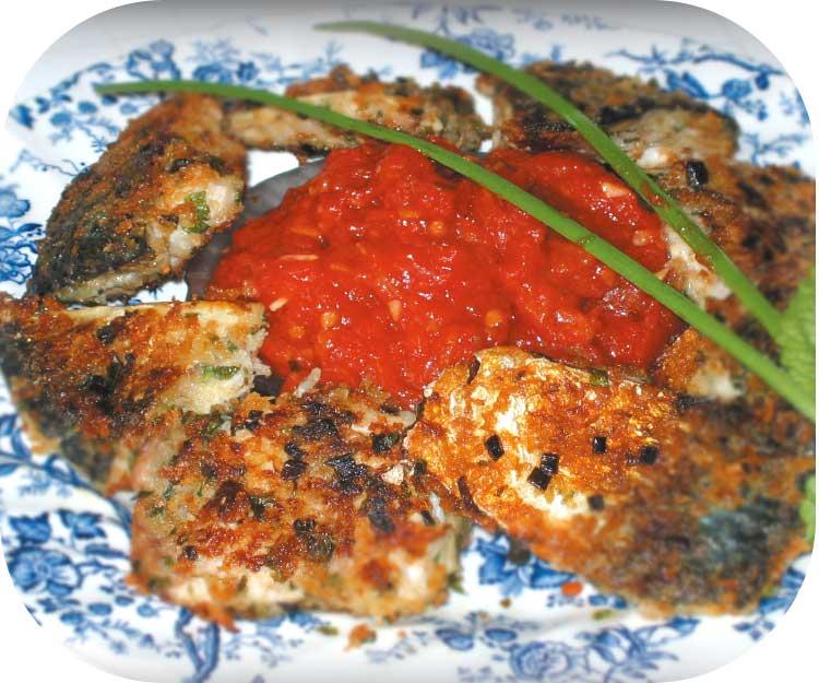 鯖のハーブパン粉焼きトマトソース