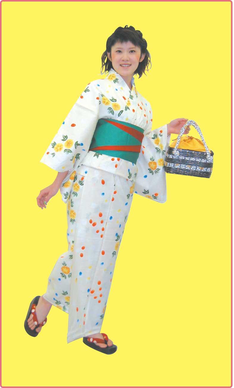花いち都屋の朝顔柄の浴衣を着た女帝