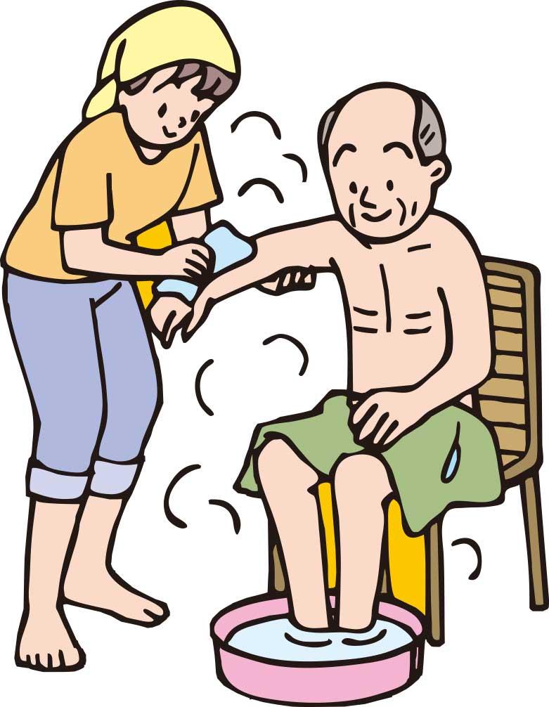 お風呂で入浴介助をしているイラスト