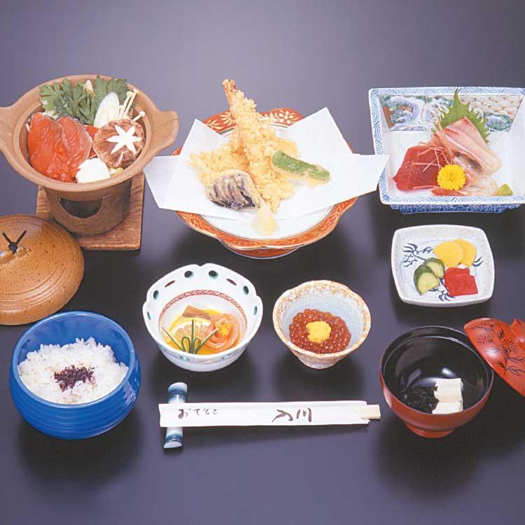 湯元入川の青いぽすと宿泊プラン料理