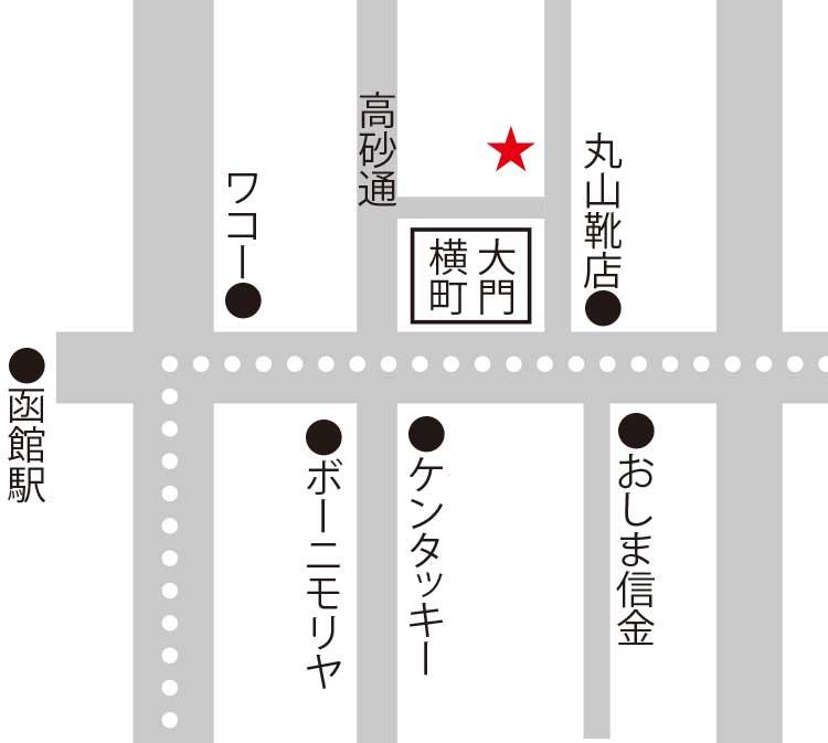 はこだて鮨金総本店周辺地図